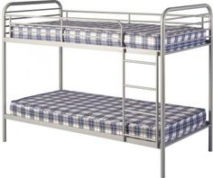 Bradley Metal Budget Bunk Bed in Silver Cheap Bunk Beds, Low Bunk Beds, Bunk Beds With Storage, Metal Bunk Beds, Kids Bunk Beds, Silver Furniture, My Furniture, Modern Furniture, Kids Cot
