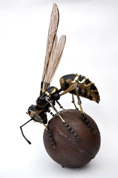 This metal wasp is beautifully made. Insects, especially wasps, convey a feeling of disgust and fear.