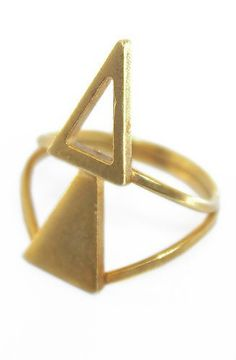 DOUBLE TRIANGLE GOLDEN RING by Jessica De Carlo