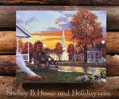 Lighted picture, hometown square Americana art with LED lights. Radiance Lighted Canvas item 73129. Gift wrap option available on all our lighted pictures.  Shop here: http://shelleybhomeandholiday.com/shop-by-brand-season/radiance-lighted-canvas/