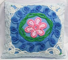 Chenille Pillow Cover Blue & Pink Flower 16 X 12 by Pugslabsndobes