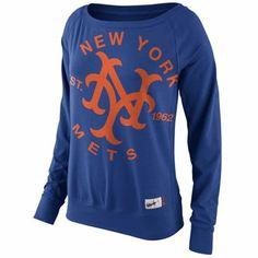 Nike New York Mets Ladies Cooperstown Washed Epic Crew Fleece Sweatshirt - Royal Blue