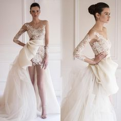 Elegant 2015 Elie Saab Sheer Bateau A Line Chiffon And Lace Illusion Long Sleeve Mini Short Wedding Dresses Bridal Gowns Design Your Own Wedding Dress Designer Dresses Online From Yateweddingdress, $174.99| Dhgate.Com