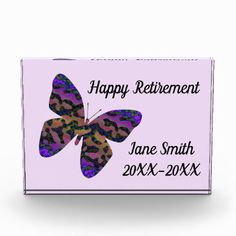 Shop Happy Retirement Modern Bright Butterfly Employee Photo Block created by KudosKorner. Personalize it with photos & text or purchase as is! Happy Retirement Wishes, Create Your Own, Create Yourself, Employee Recognition, Photo Blocks, Printing Process, Vivid Colors, Butterfly, Bright