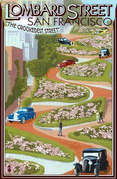 Vintage San Francisco Postcard Lombard Street.