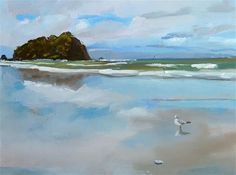 """Daily Paintworks - """"Beach Reflections"""" - Original Fine Art for Sale - © Gary Bruton"""