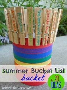 For many people in the US, Memorial weekend marks the unofficial start of summer. Why not make a list of things you want to do before the end of summer?  Jill, from A Mom with a Lesson Plan, shares her idea to make a fun bucket using a yogurt container, construction paper, clothespins, and Washi tape. She also has a collection of 20 ideas you can use to make your own summer bucket list.