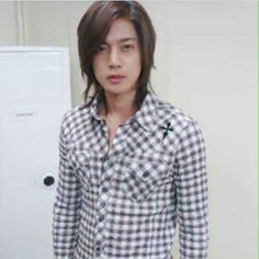 Kim Hyun Joong 김현중 ♡ plaid ♡ long hair ♡ perfection ♡ Kdrama ♡ Kpop ♡