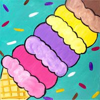 Ice Cream painting canvas for ice cream social party. @newwaytopaint