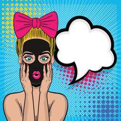 Popart meisje cosmetische zwart masker wow gezicht vectorkunst illustratie