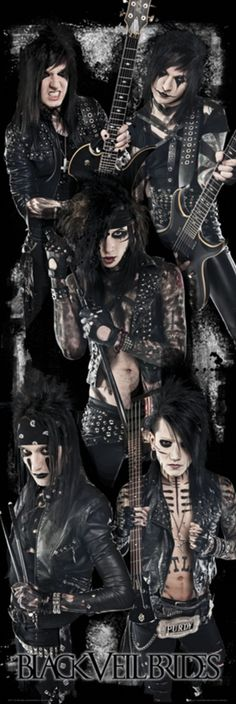 "Black Veil Brides posters: Black Veil Brides posters: Door format Black Veil Brides poster featuring the US rock band. Black Veil Brides are influenced by Kiss and glam metal in general and the members are Andrew ""Andy Six"" Dennis Biersack, Ashley Purdy, Jake Pitts, Andy Biersack, Good Charlotte, Papa Roach, My Chemical Romance, Vail Bride, Hard Rock, We Are The Fallen, Bvb Fan"