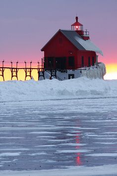 Winter Lighthouse  Grand Haven, Michigan. I want to go see this place one day.Please check out my website thanks. www.photopix.co.nz