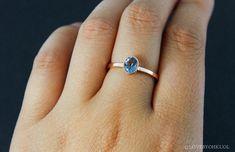 Oval Aquamarine Ring Santa Marie Blue by lovebyohkuol on Etsy Aquamarine Rings, Aquamarine Blue, White Sapphire, Minimalist Wedding Rings, Rose Cut Diamond, Semi Precious Gemstones, Santa, Unique Jewelry, Vintage