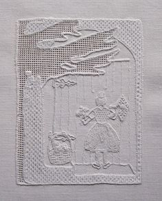 """Little Red Riding Hood"", worked on 16 threads per cm Weddigen linen"