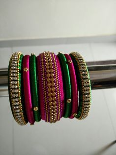Pink n Green Silk Thread Bangles
