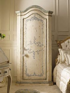 Paint in knotted string then white, distress the white so knotted string shows through in places and then stencil french motif over white in grey and lightly sand grey to give antique look