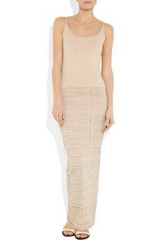 69f48689fc55 Nude and light-gray fine cotton-blend jersey Tie-dye skirt