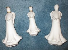 Vintage Faceless Porcelain Angels, 2 Ten Inch, 2 Seven and a Half Inch, Any time of Year, Home or Office, for Decorating or for Craftmaking
