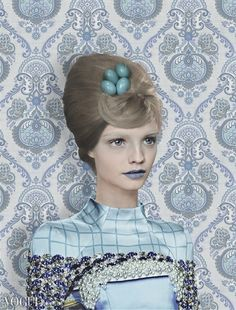 Eggshell blue. Mary Katrantzou by Garjan Atwood for Vogue Italia December 2012