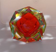 Murano faceted cut glass ashtray with red door Vintageclocksandmore