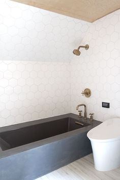 a-frame cabin, bathroom renovation // concrete bath // sarah sherman samuel