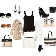 Black & White Trench coat classic, created by moorelisakay on Polyvore