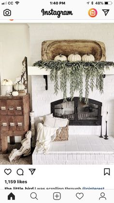 chic fall home decor with white pumpkins and fresh greenery - Jessica Design My Living Room, Home And Living, Living Room Decor, Fall Home Decor, Autumn Home, Fall Mantle Decor, Modern Fall Decor, Mantle Decorating, Mantle Ideas