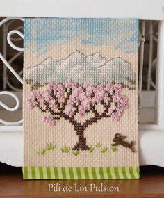Echange ATC Cross Stitch Tree, Mini Cross Stitch, Cross Stitch Embroidery, Cross Stitch Patterns, Atc, Projects To Try, Handmade, Europe, Notebooks