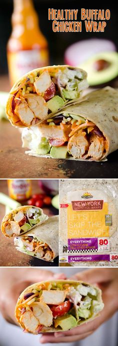 Healthy Buffalo Chicken Wrap - A light and healthy wrap filled with buffalo chicken breasts, Greek yogurt, bleu cheese crumbles, broccoli slaw, celery, avocado and tomatoes for an easy lunch with bold flavor!