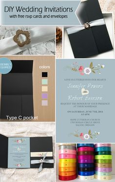 pink and dusty blue black pocket diy wedding invitations with free rsvp cards and envelopes