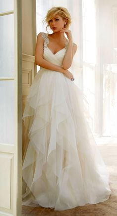 Hayley Paige Wedding Dress with Crystal Straps.