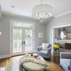 Master Bedroom Sitting Area with Fireplace, Transitional, Bedroom, Benjamin Moore Shoreline Gray Bedroom Walls, Master Bedroom, Benjamin Moore Shoreline, Bedroom With Sitting Area, Room Wall Colors, Diy Home, Home Decor, Contemporary Bedroom, Apartment Living