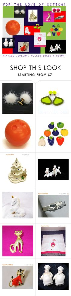 """""""For the Love of Kitsch!"""" by anna-ragland ❤ liked on Polyvore featuring vintage, vintagejewelry, vintagehomedecor, vintagecollectibles and vintagegiftideas"""