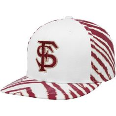 Top of the World Florida State Seminoles (FSU) White-Garnet Zubaz Primetime Snapback Adjustable Hat