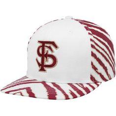 Top of the World Florida State Seminoles (FSU) White-Garnet Zubaz Primetime Snapback Adjustable Hat