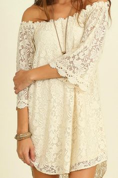Umgee USA Natural Lace Off Shoulder Dress It's All Happen's in the right Dress! Lined   Natural Lace Dress by Umgee USA. Clothing - Dresses Austin, Texas