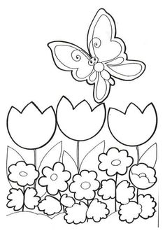flowers 999 coloring pages great easy shapes for felt and embroidery - Spring Coloring Sheet