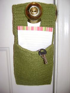 Door knob reminder pouch. #crochet So need one of these I forget everything!