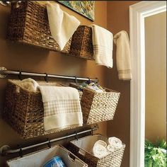 Easy DIY Wall Organizers - Baskets on Curtain Rods - Click Pic for 19 DIY Storage Ideas for Small Bedrooms
