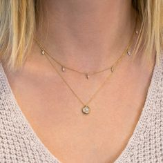 Friday calls for double the diamonds 🙌🏻 Love the look of a shorter station necklace layered with a longer pendant. Body Jewelry, Fine Jewelry, Dana Rebecca, Jewelry Accessories, Jewelry Design, Stacked Necklaces, Station Necklace, Necklace Designs, Jewelery