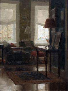 Jacob Collins, Library Afternoon, Oil on Panel, 8 x 6 inches, 2009