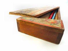 Colorful antique painted wood pencil box