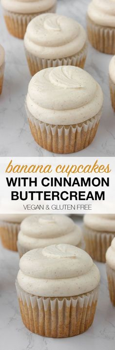 The best banana cupcakes you'll ever eat!! With cinnamon buttercream! Vegan and gluten free - so delicious! #veganbananacupcakes #glutenfreebananacupcakes #glutenfreevegancupcakes #vegancupcakes #glutenfreecupcakes #bananacake #bananacupcakes #easybananacake