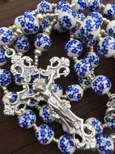 Blue Floral Rosary by LibrasGarden on Etsy