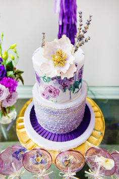 Glam Garden Inspired Ombre Purple 30th Birthday Party. We love this floral-inspired purple and gold birthday cake.