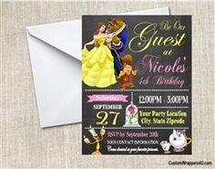 Beauty and the Beast invitation, Princess Belle birthday invitation
