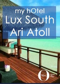 The Prestige Water Villas at Lux South Ari Atoll (formerly Lux Maldives) are located on the west side of the island, and they do not disappoint in any way. At 100sqm, they are spacious and airy, with a bedroom, sitting area, bathroom, and deck area to take in the amazing sunsets.