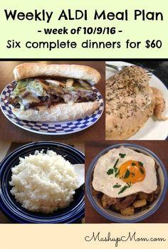 Easy weekly ALDI meal plan week of 10/9/16 - 10/15/16 http://www.mashupmom.com/easy-weekly-aldi-meal-plan-week-10916-101516/