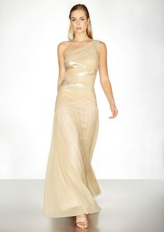 TADASHI SHOJI  One-Shoulder Sequin Pleated Gown  $199.99