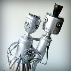 Man and Wife - Robot Sculpture - ooak recycled art assemblage op Etsy, Verkocht